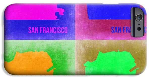 San Francisco Street iPhone Cases - San Francisco Pop Art Map 2 iPhone Case by Naxart Studio