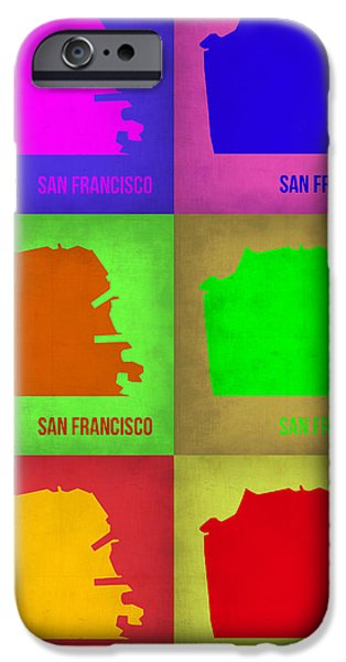 San Francisco iPhone Cases - San Francisco Pop Art Map 3 iPhone Case by Naxart Studio
