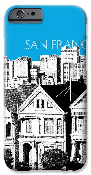 Pen And Ink iPhone Cases - San Francisco Skyline Alamo Square - Ice Blue iPhone Case by DB Artist