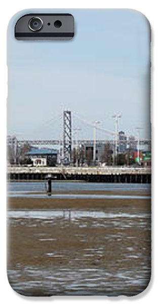 San Francisco Skyline and The Bay Bridge Through The Port of Oakland 5D22238 iPhone Case by Wingsdomain Art and Photography