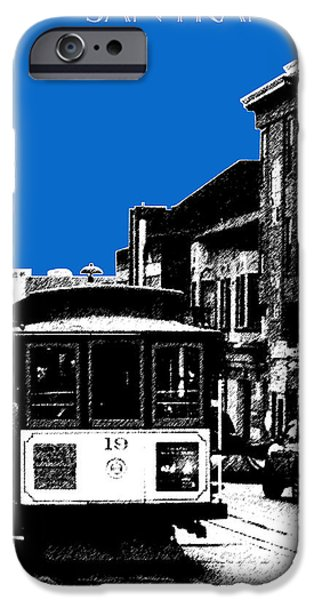 Pen And Ink iPhone Cases - San Francisco Skyline Cable Car 1 - Blue iPhone Case by DB Artist