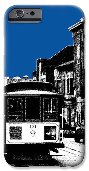Pen And Ink iPhone Cases - San Francisco Skyline Cable Car 1 - Royal Blue iPhone Case by DB Artist