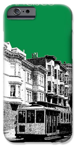 Modern Architecture iPhone Cases - San Francisco Skyline Cable Car 2 - Forest Green iPhone Case by DB Artist