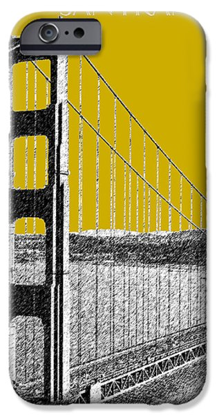 Pen And Ink Digital Art iPhone Cases - San Francisco Skyline Golden Gate Bridge 1 - Gold iPhone Case by DB Artist