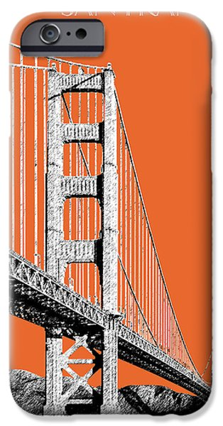 Mid-century Modern Decor iPhone Cases - San Francisco Skyline Golden Gate Bridge 2 - Coral iPhone Case by DB Artist