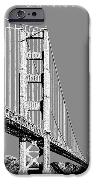 Architecture Digital iPhone Cases - San Francisco Skyline Golden Gate Bridge 2 - Pewter iPhone Case by DB Artist