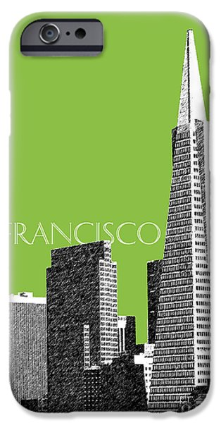 Pen And Ink Digital Art iPhone Cases - San Francisco Skyline Transamerica Pyramid Building - Olive iPhone Case by DB Artist