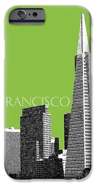 San Francisco Skyline Transamerica Pyramid Building - Olive iPhone Case by DB Artist