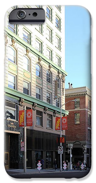 San Francisco Stockton Street at Union Square - 5D20564 iPhone Case by Wingsdomain Art and Photography