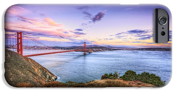 Sausalito iPhone Cases - San Francisco Sunset and the Golden Gate Bridge from Marin Headlands 2 iPhone Case by The  Vault - Jennifer Rondinelli Reilly