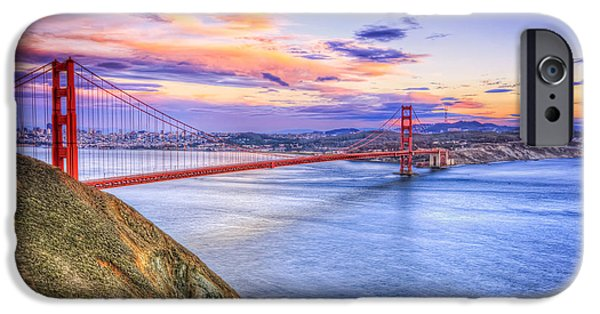 Sausalito iPhone Cases - San Francisco Sunset and the Golden Gate Bridge from Marin Headlands iPhone Case by The  Vault - Jennifer Rondinelli Reilly