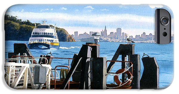 San Francisco iPhone Cases - San Francisco Tiburon Ferry iPhone Case by Mary Helmreich