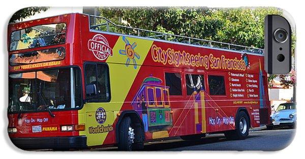 Tour Bus San Francisco iPhone Cases - San Francisco Tour Bus iPhone Case by Michael Inscoe