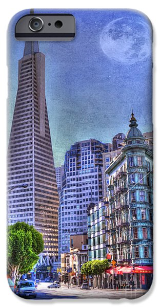 San Francisco Street iPhone Cases - San Francisco Transamerica Pyramid and Columbus Tower view From North Beach iPhone Case by Juli Scalzi