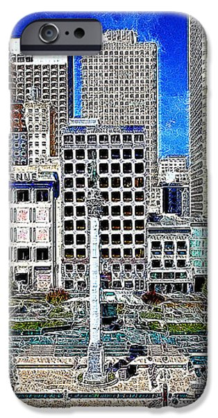 San Francisco Union Square 5D17938 Artwork iPhone Case by Wingsdomain Art and Photography
