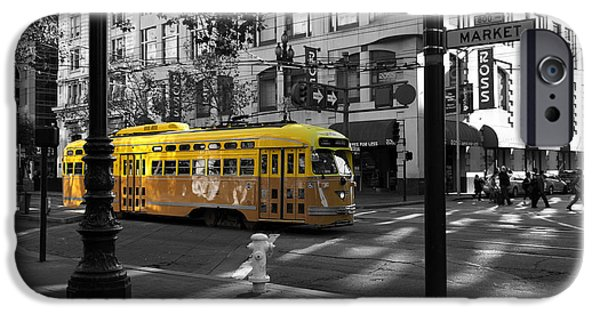 Wingsdomain iPhone Cases - San Francisco Vintage Streetcar on Market Street - 5D19798 - Black and White and Yellow iPhone Case by Wingsdomain Art and Photography