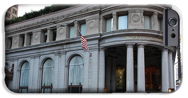 Union Square iPhone Cases - San Francisco Wells Fargo Building - 5D20603 iPhone Case by Wingsdomain Art and Photography