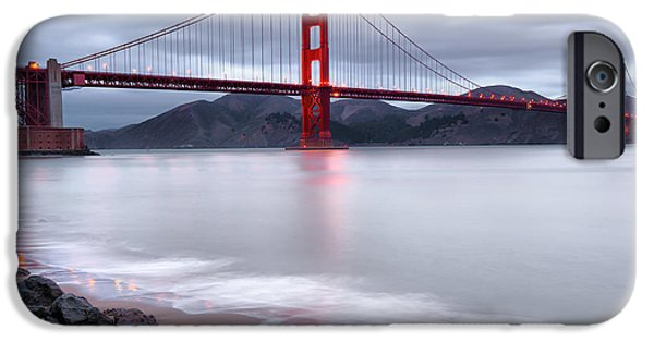 Red Rock iPhone Cases - San Franciscos Golden Gate Bridge iPhone Case by Gregory Ballos