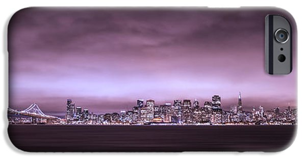 Bay Bridge iPhone Cases - San Fransisco Cityscape Panorama iPhone Case by Brad Scott