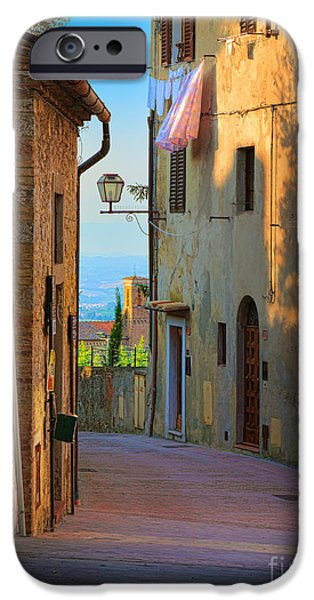 Alley iPhone Cases - San Gimignano Alley iPhone Case by Inge Johnsson