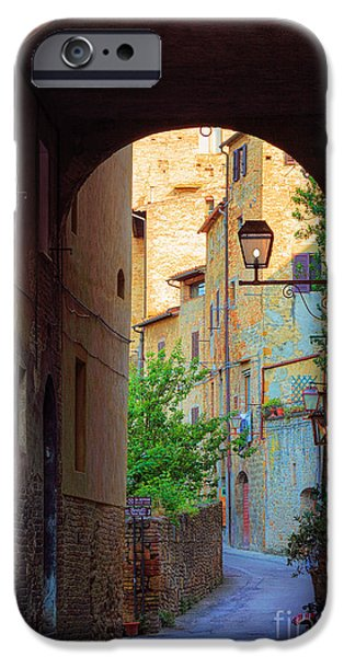Tuscan Hills iPhone Cases - San Gimignano Archway iPhone Case by Inge Johnsson