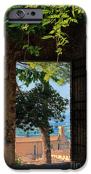 Agricultural iPhone Cases - San Gimignano door iPhone Case by Inge Johnsson