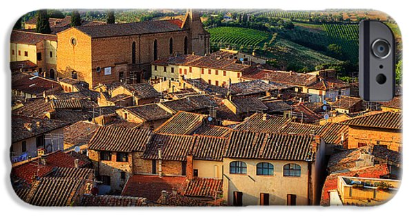 Tuscan Hills iPhone Cases - San Gimignano from Above iPhone Case by Inge Johnsson
