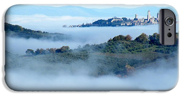 Cities Ceramics iPhone Cases - San Gimignano in the Clouds iPhone Case by Dan Krapf