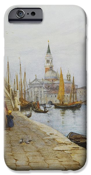 Young Paintings iPhone Cases - San Giorgio Maggiore from the Zattere iPhone Case by Helen Allingham