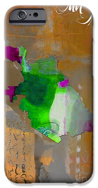 California Map iPhone Cases - San Jose Map Watercolor iPhone Case by Marvin Blaine