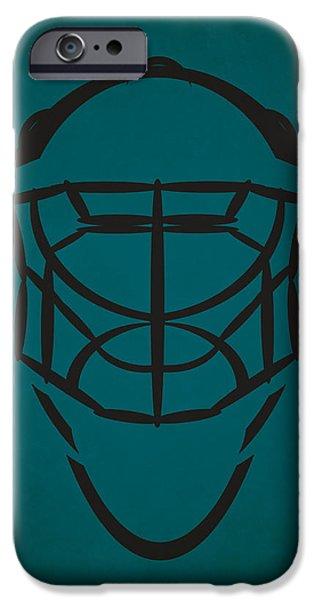 San Jose Sharks iPhone Cases - San Jose Sharks Goalie Mask iPhone Case by Joe Hamilton