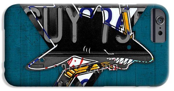 San Jose Sharks iPhone Cases - San Jose Sharks Hockey Team Retro Logo Vintage Recycled California License Plate Art iPhone Case by Design Turnpike