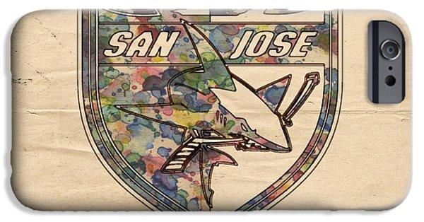 San Jose Sharks iPhone Cases - San Jose Sharks Retro Poster iPhone Case by Florian Rodarte