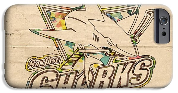 San Jose Sharks iPhone Cases - San Jose Sharks Vintage Poster iPhone Case by Florian Rodarte