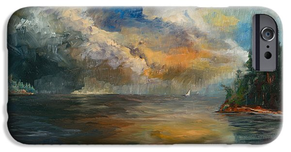 Recently Sold -  - Sailboats iPhone Cases - San Juan Islands Sunset iPhone Case by Chi E Shenam Westin