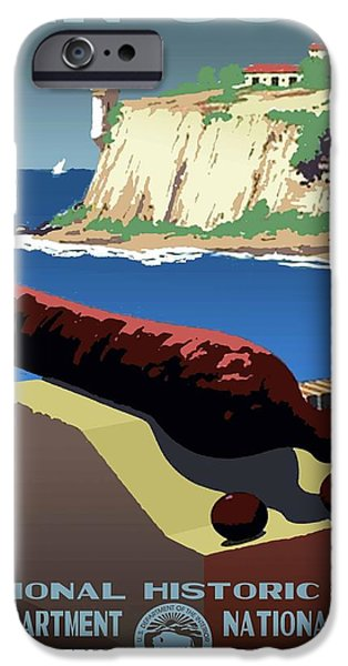 Historic Site iPhone Cases - San Juan National Historic Site Vintage Poster iPhone Case by Eric Glaser