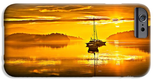 Sailboat iPhone Cases - San Juan Sunrise iPhone Case by Robert Bales