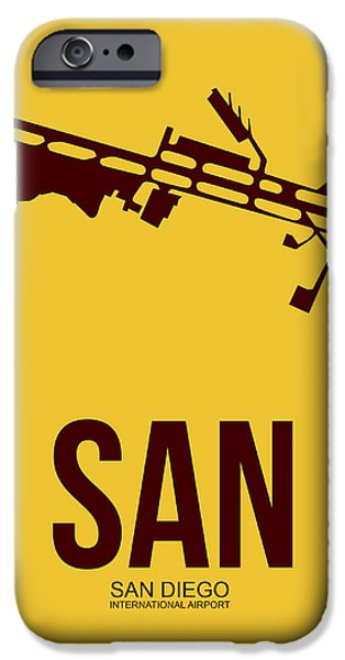 Town Mixed Media iPhone Cases - SAN San Diego Airport Poster 1 iPhone Case by Naxart Studio