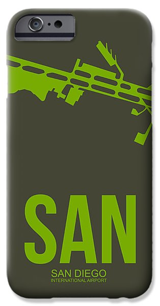 Town iPhone Cases - SAN San Diego Airport Poster 12 iPhone Case by Naxart Studio