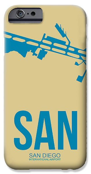 Town Mixed Media iPhone Cases - SAN San Diego Airport Poster 3 iPhone Case by Naxart Studio