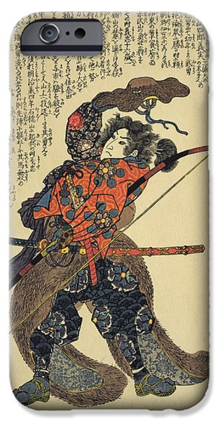 Japanese School iPhone Cases - Sanada Yoichi Yoshitada, Dressed For The Hunt With A Bow In Hand Colour Woodblock Print iPhone Case by Utagawa Kuniyoshi