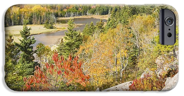 Ledge iPhone Cases - Sand Beach In Fall from Great Head Acadia National Park Photo iPhone Case by Keith Webber Jr