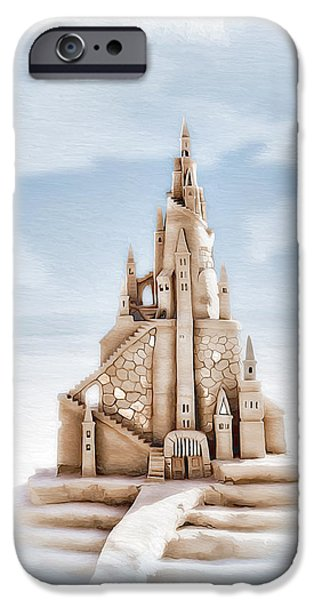 Sand Castles Digital Art iPhone Cases - Sand Castle 2 iPhone Case by Donna Kirby