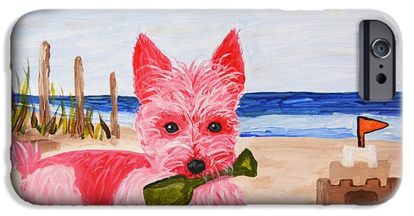 Sand Castles iPhone Cases - Sand Castle Pink Pampered Pooch iPhone Case by Christine  Dekkers