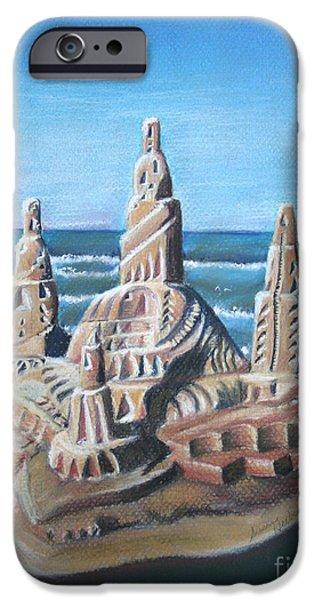 Sand Castles Pastels iPhone Cases - Sand Castle iPhone Case by Susan Herber