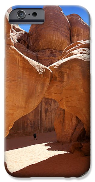 Park Scene Digital Art iPhone Cases - Sand Dune Arch with Gary iPhone Case by Mike McGlothlen