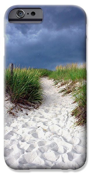 Sand iPhone Cases - Sand Dune under Storm iPhone Case by Olivier Le Queinec
