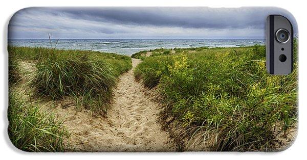 Shoreline iPhone Cases - Sand Dunes Beach Path iPhone Case by Sebastian Musial