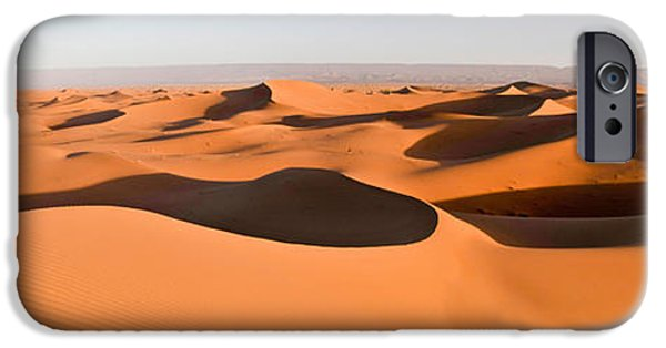 Sahara Sunlight iPhone Cases - Sand Dunes In A Desert, Erg Chigaga iPhone Case by Panoramic Images