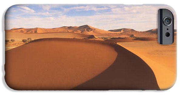 Sand Dunes iPhone Cases - Sand Dunes In An Arid Landscape, Namib iPhone Case by Panoramic Images